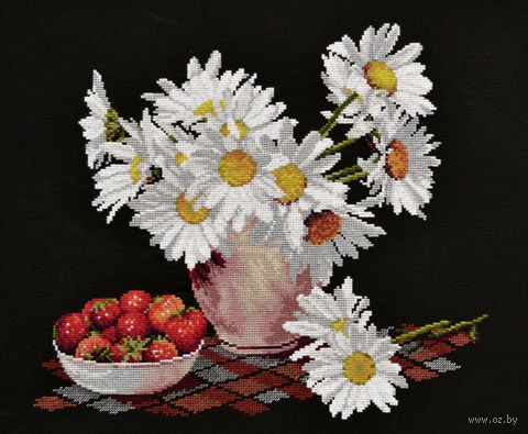 "Вышивка крестом ""Ромашки на черном"" (340x300 мм) — фото, картинка"