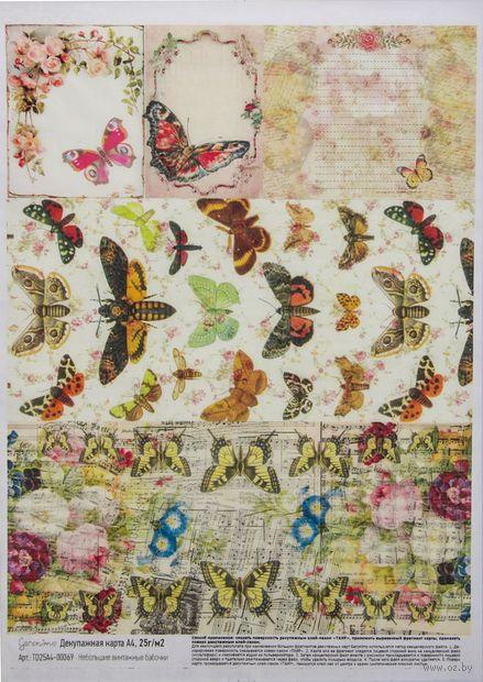 """Бумага для декупажа """"Небольшие винтажные бабочки"""" (210х300 мм) — фото, картинка"""