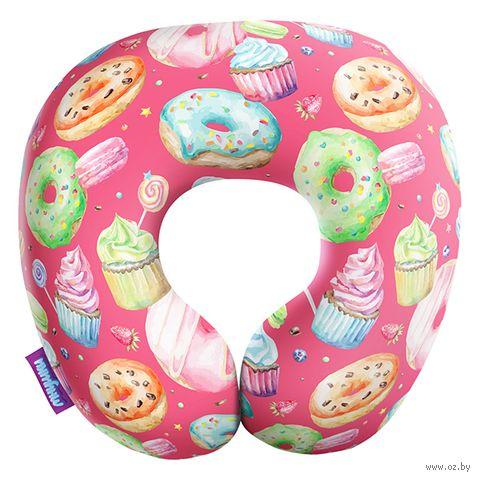 "Подушка под шею ""Пончики"" (34х34 см; розовая) — фото, картинка"