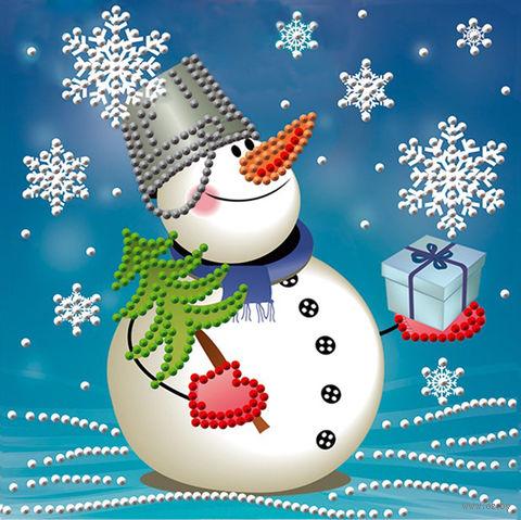 """Алмазная вышивка-мозаика """"Снеговик с подарком"""" (150х150 мм) — фото, картинка"""
