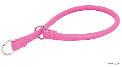 """Ошейник-удавка из натуральной кожи рывковый """"Glamour"""" (50х1 см; розовый) — фото, картинка"""