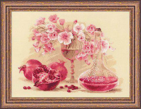 "Вышивка крестом ""Розовый гранат"" (400х300 мм) — фото, картинка"