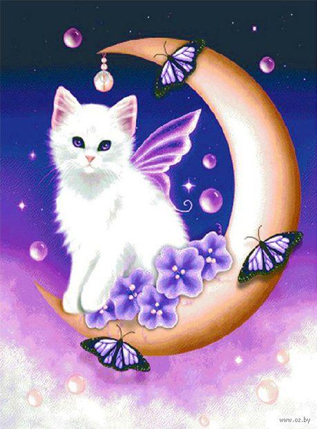 """Алмазная вышивка-мозаика """"Белый кот"""" (400х500 мм; арт. 7707892) — фото, картинка"""
