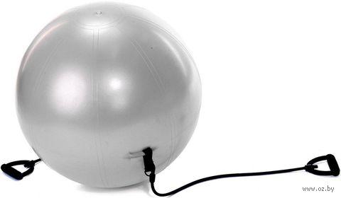Фитбол с эспандерами 65 см (серый; арт. SF 0216) — фото, картинка