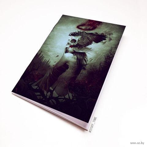 """Блокнот белый """"Девушка с черепом"""" А6 (972)"""