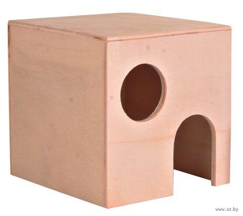 Домик деревянный для грызунов (10x10x11 см) — фото, картинка