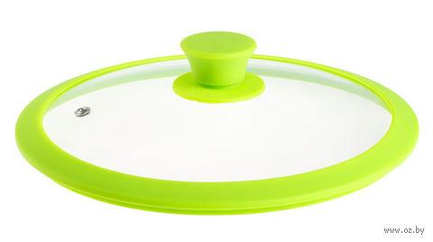 Крышка стеклянная с силиконовым ободом (26 см; зеленая) — фото, картинка