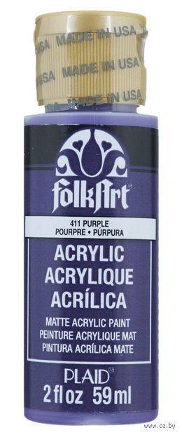 "Краска акриловая ""FolkArt. Acrylic Paint"" (фиолетовый; 59 мл; арт. PLD-00411) — фото, картинка"