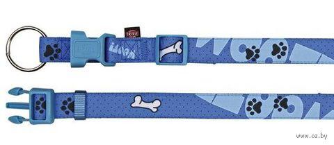 """Ошейник нейлоновый для собак """"Modern Art Collar Woof"""" (размер XS-S; 22-35 см; голубой)"""