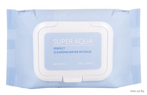 "Влажные салфетки для снятия макияжа ""Super Aqua Perfect Cleansing"" (30 шт.) — фото, картинка"
