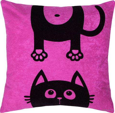 "Подушка ""Meow"" (35x35 см; фуксия) — фото, картинка"