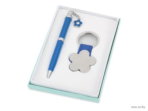 "Набор. Шариковая ручка, брелок ""Цветок"" (синий)"
