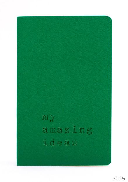 """Записная книжка Молескин """"Volant. My Amazing Ideas"""" нелинованная (карманная; мягкая светло-зеленая обложка)"""
