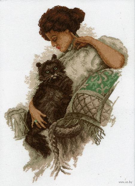 """Вышивка крестом """"Девушка с котом"""""""