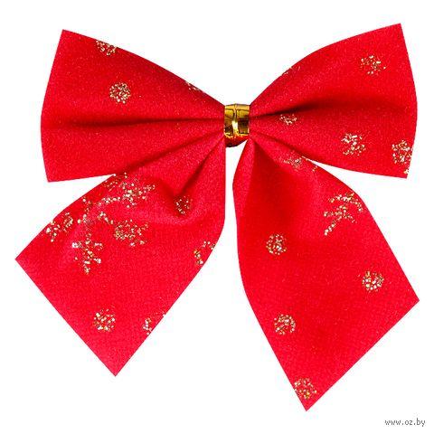 Бант декоративный (12 шт.; красный с золотом) — фото, картинка
