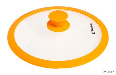 Крышка стеклянная с силиконовым ободом (26 см; желтая) — фото, картинка