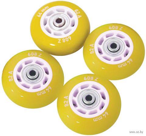 Набор светящихся колес для роликов (4 шт.; ABEC-5; жёлтый) — фото, картинка