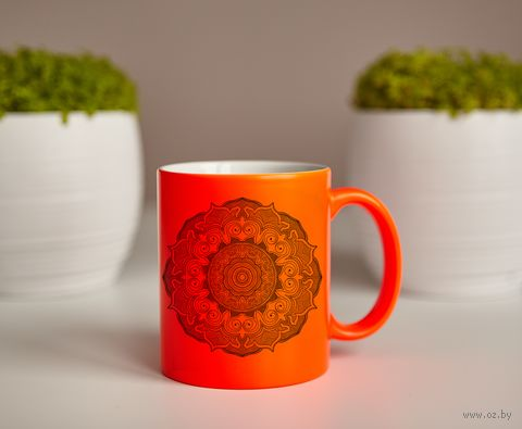 "Кружка ""Мандала"" (оранжевая) — фото, картинка"
