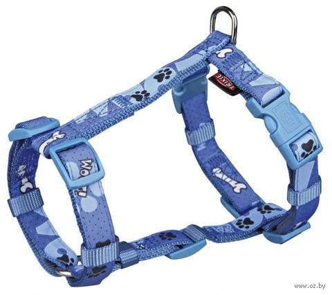 """Шлея для собак """"Modern Art H-Harness Woof"""" (размер XXS-XS, 25-35 см, голубой, арт. 15223)"""