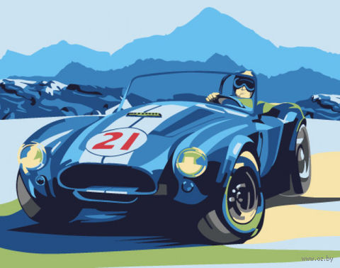 "Картина по номерам ""Ретро автомобиль Cobra"" (165х130 мм) — фото, картинка"