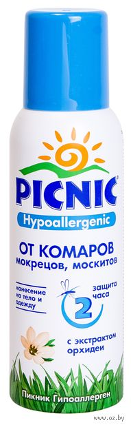 """Аэрозоль от комаров """"Picnic Hypoallergenic"""" (125 мл) — фото, картинка"""