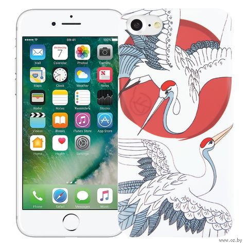 "Чехол для iPhone 7/8 ""Журавли"" (белый) — фото, картинка"