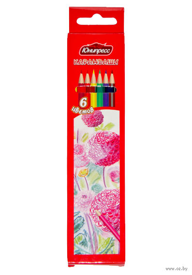 """Цветные карандаши """"Цветы"""" (6 цветов)"""