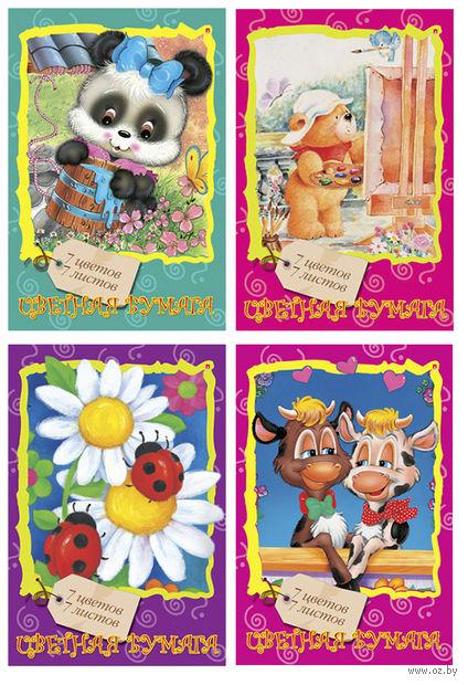 """Бумага цветная """"Мультики"""" (А4; 7 листов; 7 цветов; в ассортименте) — фото, картинка"""