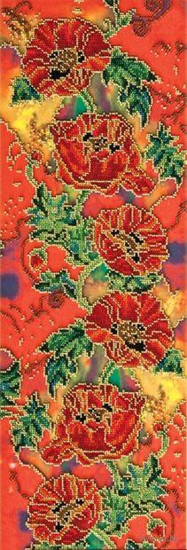 "Вышивка бисером ""Багряные маки"" (220х620 мм) — фото, картинка"