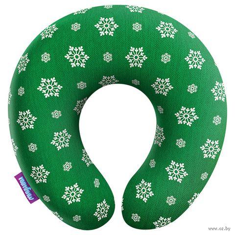 "Подушка под шею ""Рождество у бабушки. Снежинки"" (34х34 см) — фото, картинка"