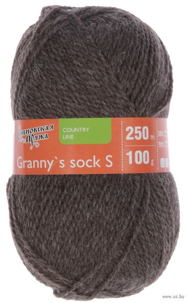 """Пряжа """"Семеновская. Granny`s sock S №574"""" (100 г; 250 м; темно-натуральный) — фото, картинка"""
