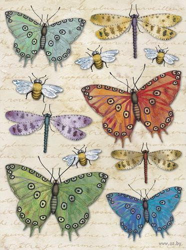 """Стикеры для скрапбукинга """"Бабочки, пчелы и стрекозы. Цветение"""""""