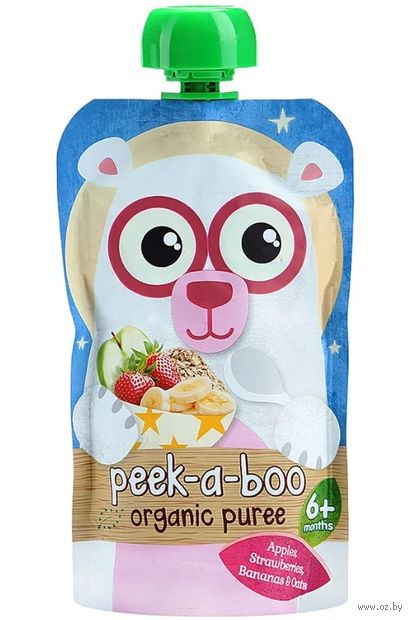 """Детское пюре Peek-a-boo """"Из яблок, клубники, бананов и овса"""" (113 г) — фото, картинка"""