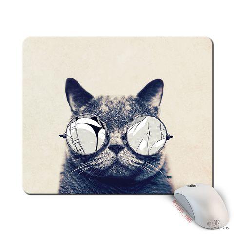 """Коврик для мыши большой """"Кот в очках"""" (812)"""