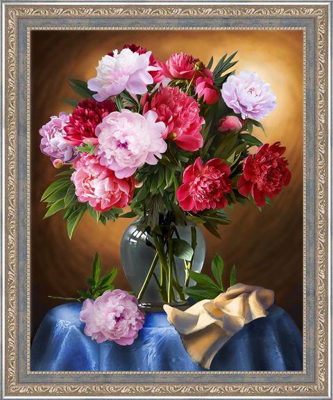 """Алмазная вышивка-мозаика """"Шикарные пионы"""" (400х500 мм) — фото, картинка"""