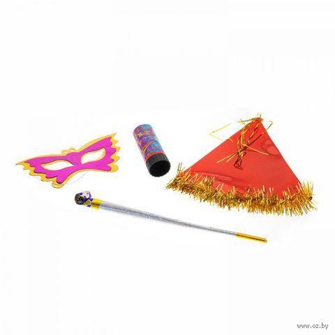 Набор для праздника (колпак, маска, длинный язычок, хлопушка) — фото, картинка