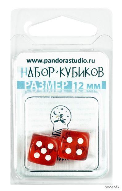 """Набор кубиков D6 """"Прозрачный"""" (12 мм; 2 шт.; оранжевый) — фото, картинка"""