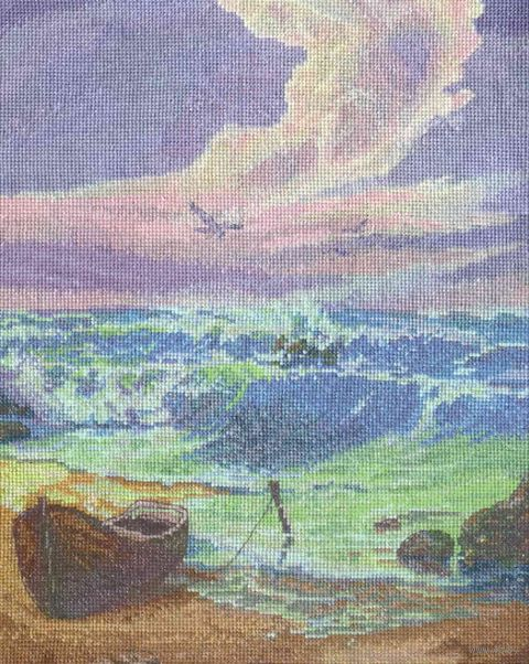 "Вышивка крестом ""Прибой"" (270х340 мм) — фото, картинка"