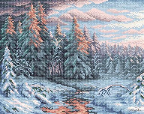 "Алмазная вышивка-мозаика ""Зимний закат"" (480х380 мм) — фото, картинка"