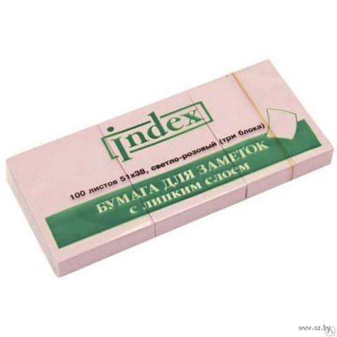 Стикеры (51х38 мм; 100 листов; розовые) — фото, картинка