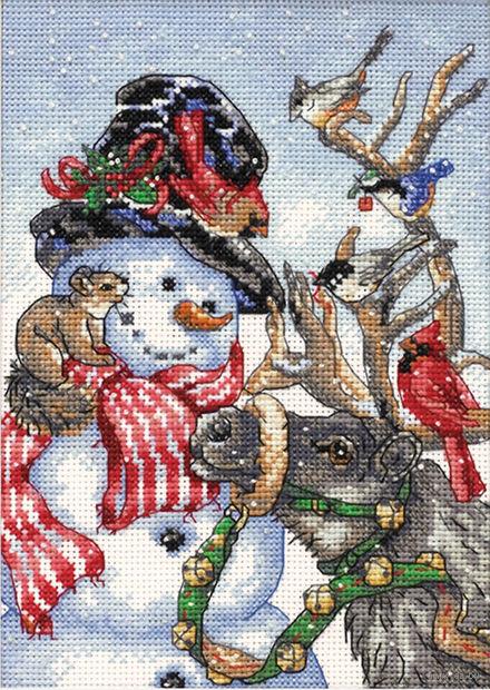 "Вышивка крестом ""Снеговик и олень"" (180х130 мм) — фото, картинка"