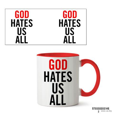 "Кружка ""Блудливая Калифорния. God hates us all"" (красная) — фото, картинка"