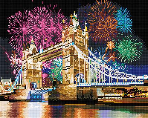 """Алмазная вышивка-мозаика """"Новогодний феерверк в Лондоне"""" (400х500 мм) — фото, картинка"""