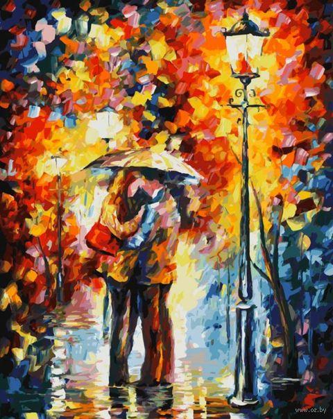 """Картина по номерам """"Поцелуй под дождем"""" (500х400 мм) — фото, картинка"""