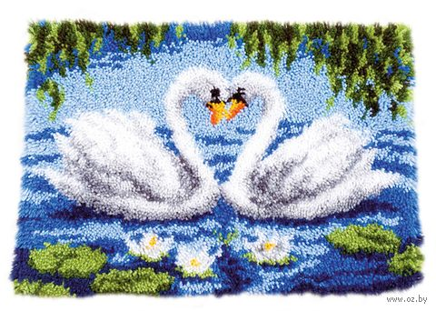 """Вышивка в ковровой технике """"Коврик. Лебединое озеро"""" (550х400 мм) — фото, картинка"""
