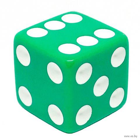 """Кубик D6 """"Простой"""" (16 мм; зелёно-белый) — фото, картинка"""