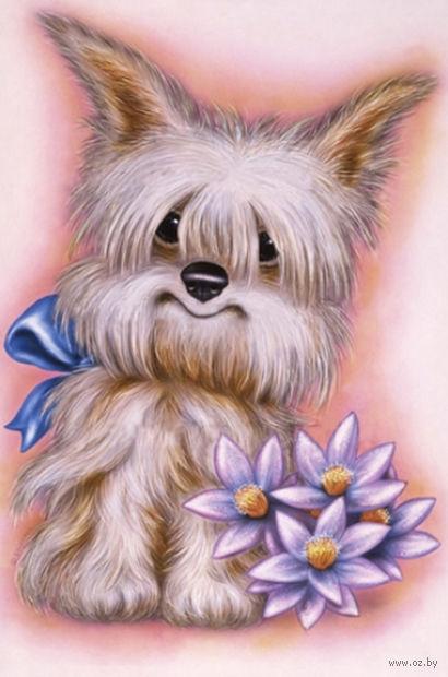 """Алмазная вышивка-мозаика """"Пес с цветами"""" (250х350 мм) — фото, картинка"""