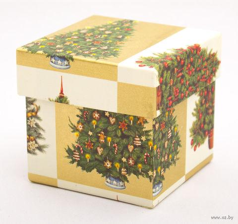 """Подарочная коробка """"Christmas Trees"""" (7,5x7,5x7,5 см; арт. CRT087R/75) — фото, картинка"""