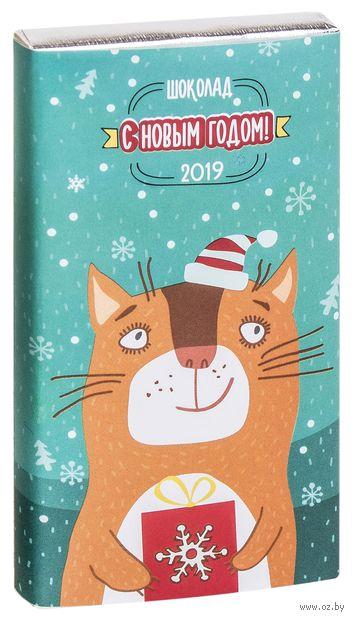"""Шоколад молочный """"Новый год. Котик"""" (50 г) — фото, картинка"""