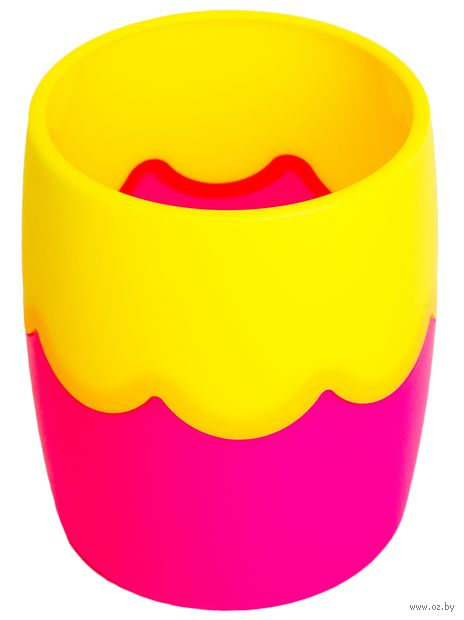 Подставка для канцелярских принадлежностей (желто-розовая) — фото, картинка